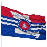 Jefferson City Flag auf dem Fahnenmast, bewegend auf weißen Hintergrund wellenartig Lizenzfreies Stockbild