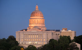 Jefferson City Missouri Capital Building Downtown City Skyline. The lights come up as the sun fades on the capital building downtown Jefferson City, Missouri Stock Images