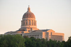 Jefferson City Missouri Capital Building Downtown Sunset Architecture. The lights come up as the sun fades on the capital building downtown Jefferson City Stock Photos