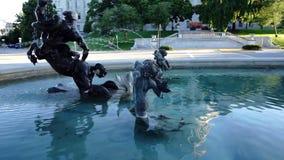 Jefferson City Missouri Capital Building Pond Fountain Pan Up stock footage