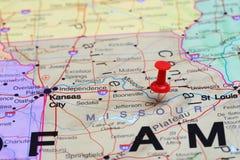 Jefferson City przyczepiał na mapie usa zdjęcie royalty free