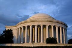 Jefferson-Denkmal am Sonnenuntergang in Washington Lizenzfreie Stockfotos