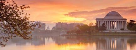 Jefferson Memoria. L at dawn by Tidal Basin, DC stock photo