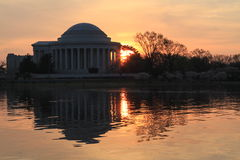 Jefferson Memorial from Across Tidal Basin at Sunrise Stock Photography