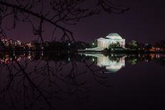 Jefferson Memorial Against Night Sky Images libres de droits