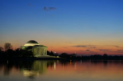 Jefferson Memorial Building Sunset avec le foyer de tache Images libres de droits