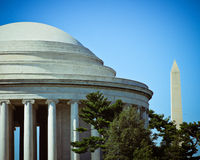The Jefferson Memorial Dome with the Washington Monument in the Royalty Free Stock Photography