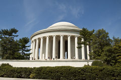 Jefferson Memorial Monument in Washington DC. A national landmark with a statue of the president inside the complex Royalty Free Stock Images