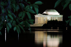 Jefferson memorial at night. Jefferson Memorial in Washington DC at night from across the water royalty free stock image