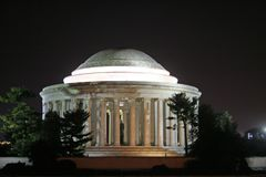 Jefferson Memorial at Night stock images
