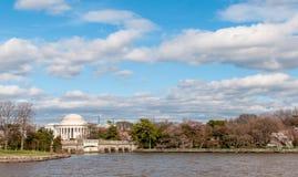 Jefferson Memorial op het Getijbekken van Potomac Rive wordt gezien die Stock Afbeelding