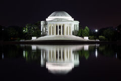 Jefferson Memorial reflection at night. This is the Jefferson Memorial reflecting on the Tidal Basin in Washington DC Stock Photo