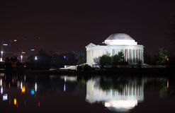 Jefferson Memorial-Reflexion nachts Lizenzfreie Stockbilder