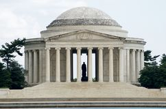 Jefferson Memorial, statue of Thomas Jefferson inside shot July 2017. Jefferson Memorial shot across the Potomic with a view of Thomas Jeffersons Royalty Free Stock Image