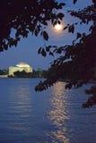 Jefferson Memorial sotto la luna piena Fotografia Stock Libera da Diritti