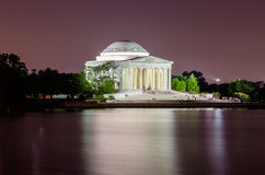 Jefferson Memorial in Washington DC. Scenic night view of the Jefferson Memorial in Washington DC reflecting in the Tidal Basin stock images