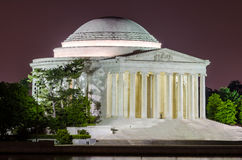 Jefferson Memorial in Washington DC. Scenic night view of the Jefferson Memorial in Washington DC reflecting in the Tidal Basin stock photography