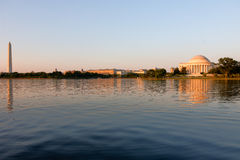 Jefferson Memorial and Washington Monument at dusk during the go Stock Photography
