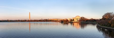 Jefferson Memorial and Washington Monument reflected on Tidal Basin in the evening, Washington DC, USA. Panoramic image stock images