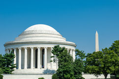 Jefferson Memorial and Washington Monument Washington DC Stock Photo