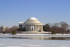 Jefferson Memorial in winter Stock Photos