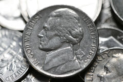 Jefferson nickel. A close up of a Jefferson nickel stock images