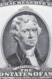 Jefferson portrait on two US dollar banknote macro Stock Photos