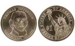 Jefferson Presidential dollar coin. Thomas Jefferson Presidential Dollar coin on white background Royalty Free Stock Photos