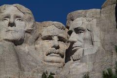 Jefferson, Roosevelt y Lincoln en el montaje Rushmore Foto de archivo