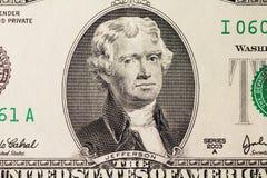 Jefferson's portrait on dollar. Macro Stock Photos