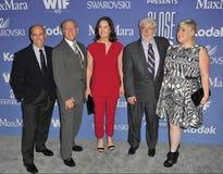 Jeffrey Katzenberg y Frank Marshall y Kathleen Kennedy y George Lucas Fotos de archivo libres de regalías