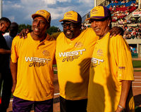 Jeffrey Osborne, Cedric the Entertainer and Smokey Robinson before the start of the game. Royalty Free Stock Images