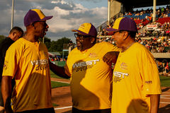 Jeffrey Osborne, Cedric the Entertainer and Smokey Robinson before the start of the game. Stock Photography