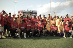 Jeffrey Osborne Foundation Celebrity Softball Game. East and West pose for a team photo before the start of the Jeffrey Osborne Foundation Celebrity Softball Royalty Free Stock Photography