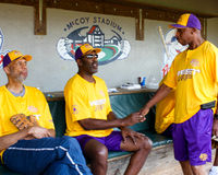 Jeffrey Osborne and friends, Kareem and James Worthy. Stock Photography