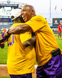 Jeffrey Osborne gives Eddie Levert, Jr. a big hug. Singer Jeffrey Osborne give O'Jay's singer Eddie Levert, Jr. a hug after singing the National Anthem prior to Stock Photos