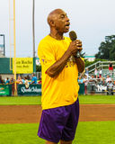 Jeffrey Osborne sings the National Anthem. Stock Images