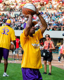 Jeffrey Osborne takes a free-throw shot. Royalty Free Stock Images