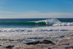 Jeffreys Bay Surfer Wave Wall Long Stock Photography