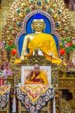 Jego Holiness 14 Dalai Lama Tenzin Gyatso daje nauczaniom w jego siedzibie w Dharamsala, India Fotografia Royalty Free