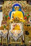 Jego Holiness 14 Dalai Lama Tenzin Gyatso daje nauczaniom w jego siedzibie w Dharamsala, India zdjęcia stock