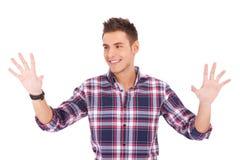 jego imaginacyjny klawiaturowy mężczyzna palm target2901_1_ Zdjęcia Royalty Free