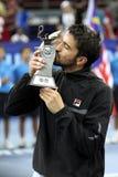 jego janko buziaka s Serbia tipsarevic trofeum Obrazy Royalty Free