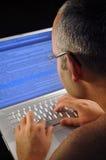 jego laptopu mężczyzna używać Obraz Stock