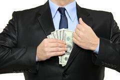 jego mężczyzna pieniądze kieszeni kładzenia kostium zdjęcie stock
