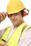 jego przechylań friendly tradesmen kapelusz Zdjęcia Stock