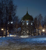 Jehoiakim-Anninsky Temple (Ulyanovsk, Russia) at night on the background of the winter sky Royalty Free Stock Images