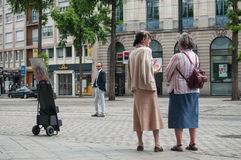 Jehovah`s witnesses in the street Royalty Free Stock Photography