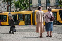 Jehovah`s witnesses in the street Stock Photography