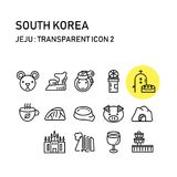Jeju ö med linjen genomskinlig design, Sydkorea arkivbild
